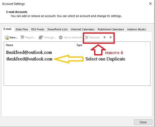 remove duplicate account in microsoft outlook