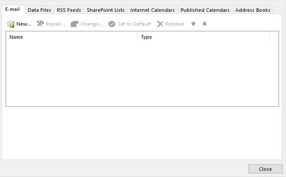 select an account in outlook